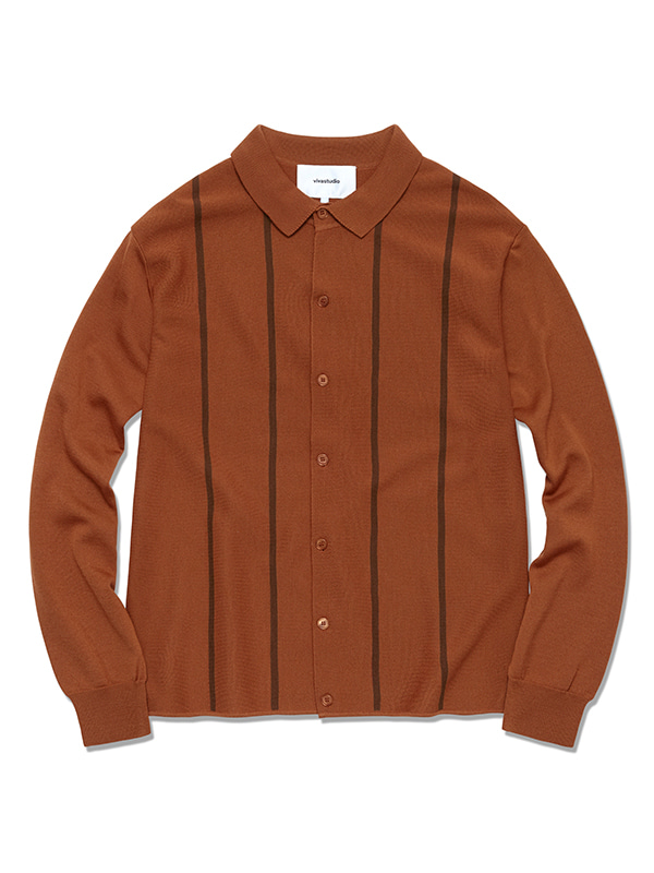 STRIPE POLO CARDIGAN HS [CAMEL]