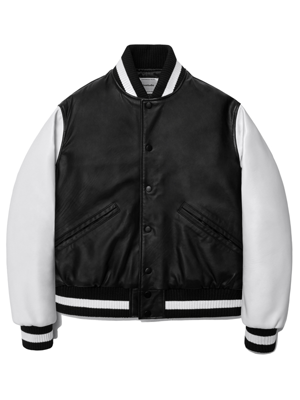 LEATHER STADIUM JACKET HA [BLACK]