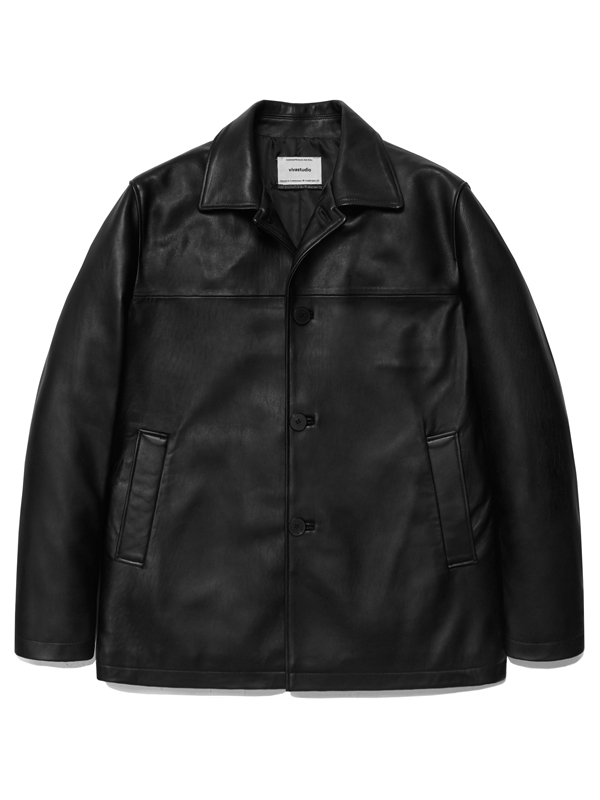 LEATHER CAR COAT HA [BLACK]
