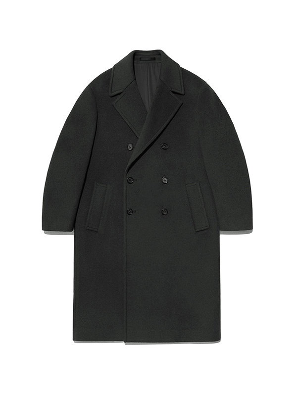 DOUBLE BREASTED CASHMERE COAT HA [DARK GREEN]