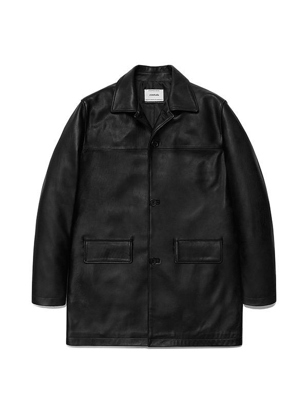 LEATHER CAR COAT IS [BLACK]