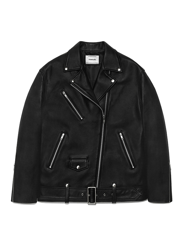 WOMENS OVERSIZE RIDERS JACKET IS [BLACK]