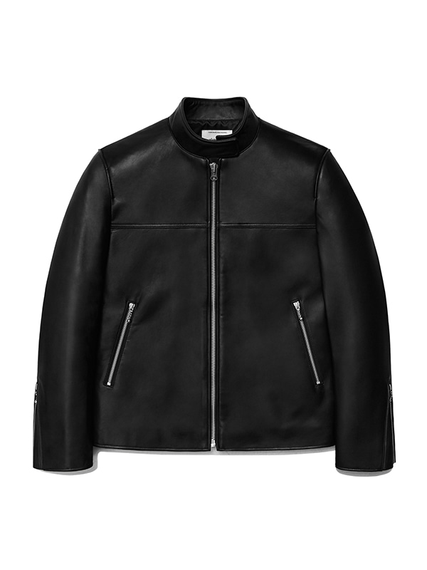LEATHER SPORTS JACKET IS [BLACK]