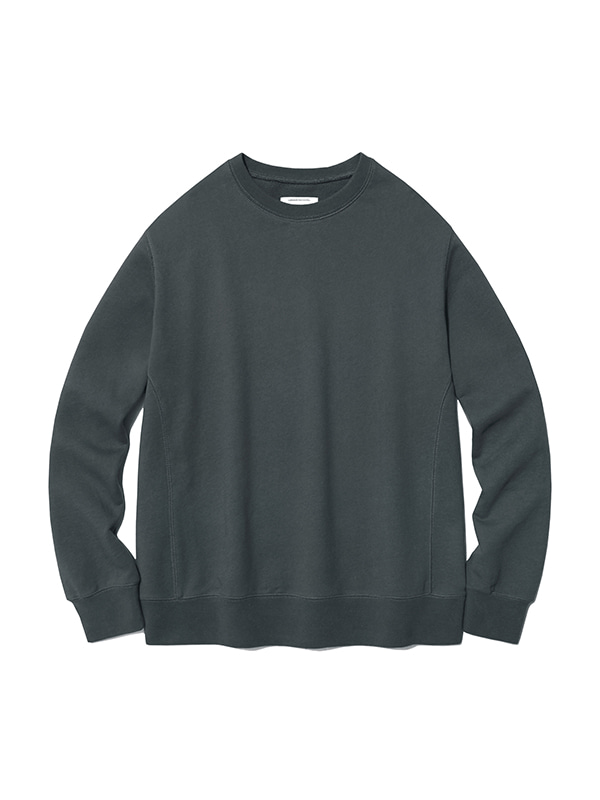 DYED COLOR CREWNECK IS [DARK GREY]