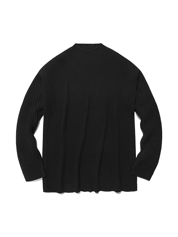 RIBBED KNIT CREWNECK IS [BLACK]