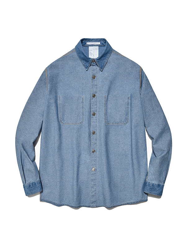 REVERSED DENIM SHIRTS IS [BLUE]