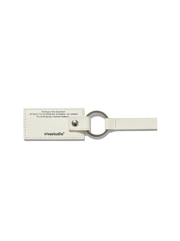LETTERING LEATHER KEYRING IS [IVORY]