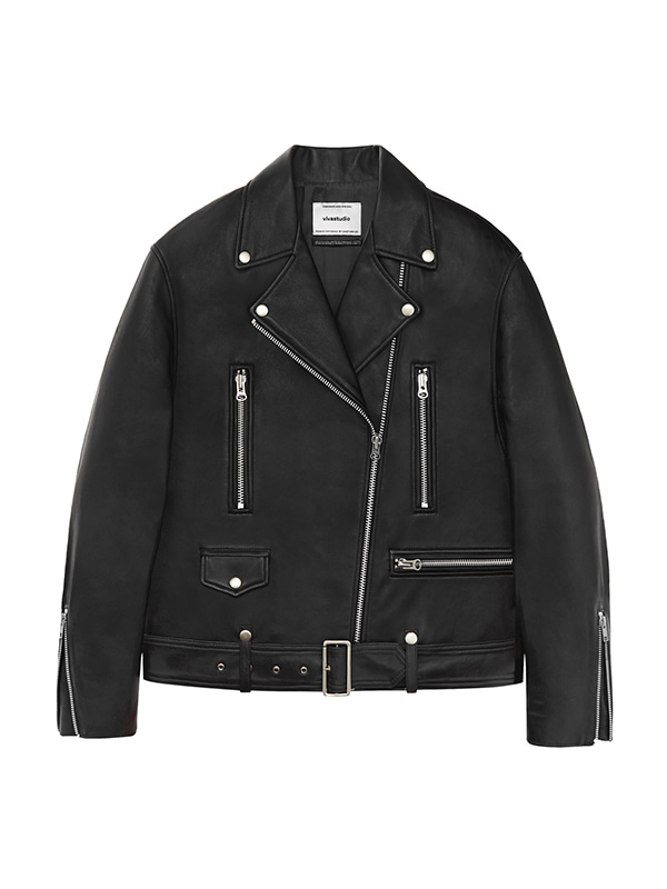 WOMENS OVERSIZED RIDERS JACKET IA [BLACK]