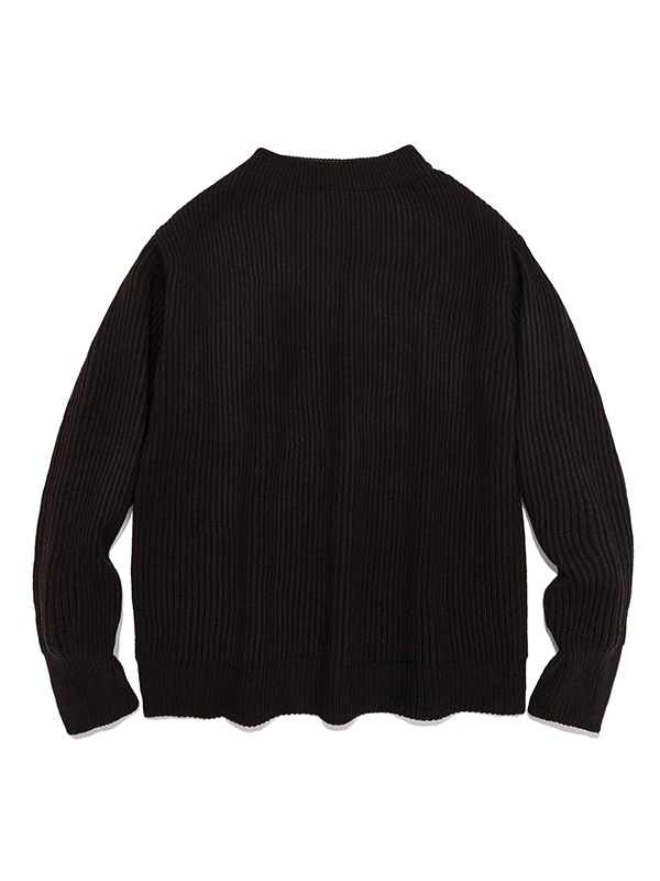 HALF NECK HEAVY KNIT IA [BLACK]
