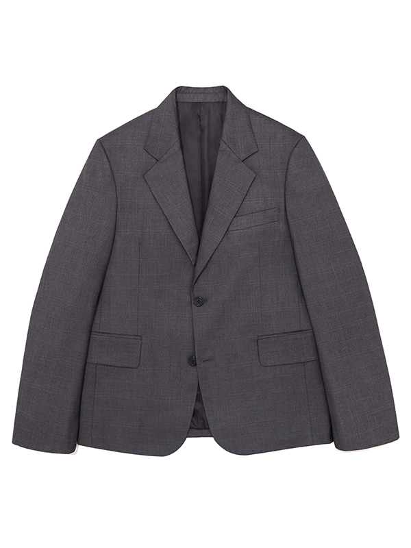 SINGLE BREASTED BLAZER JS [GREY CHECK]