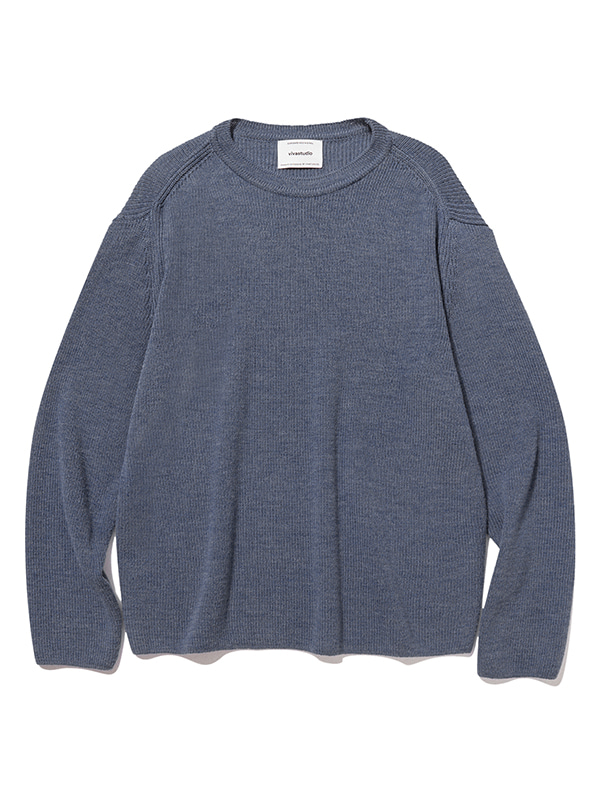 BASIC CUTTING KNIT JS [BLUE GREY]