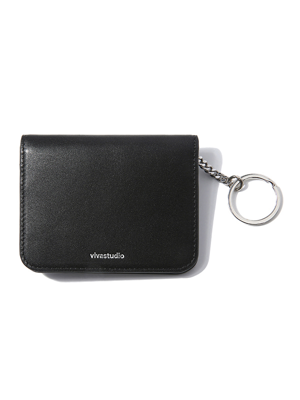 FOLDING LEATHER WALLET [BLACK]