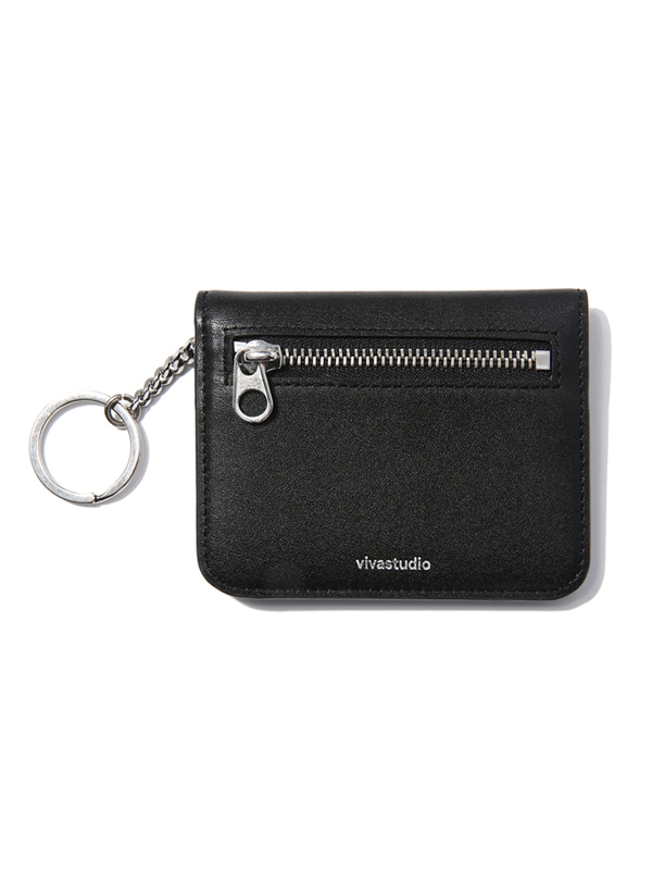 FOLDING LEATHER WALLET JS [BLACK]