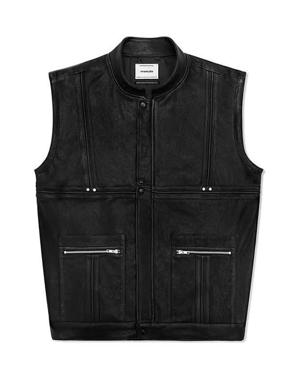 LEATHER VEST JS [BLACK]