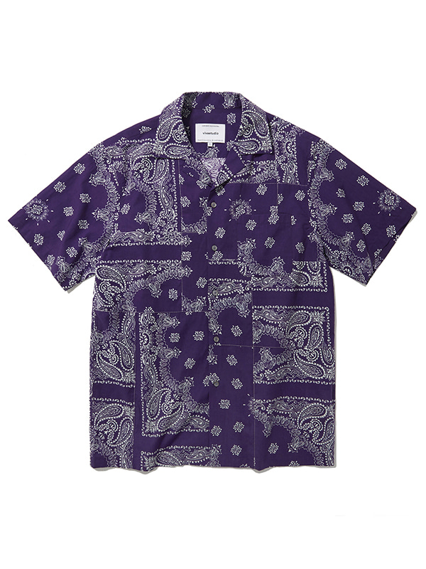 BLOCKING BANDANA SHIRTS JS [PURPLE]