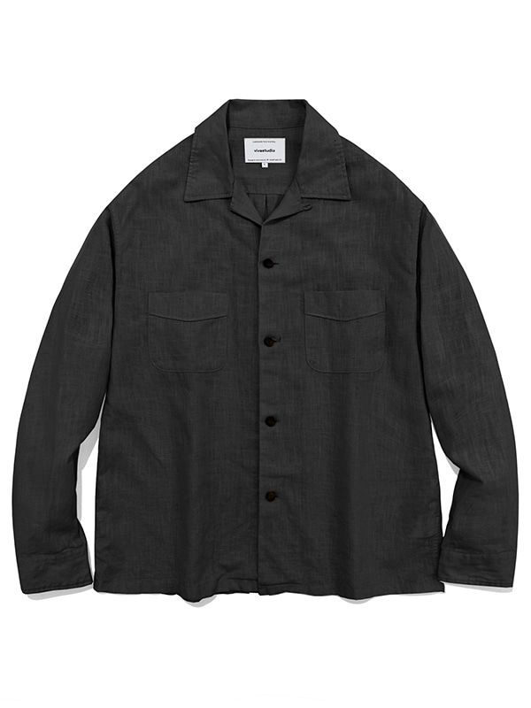 TWO POCKET LINEN SHIRTS JS [CHARCOAL]