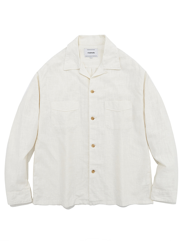 TWO POCKET LINEN SHIRTS JS [IVORY]