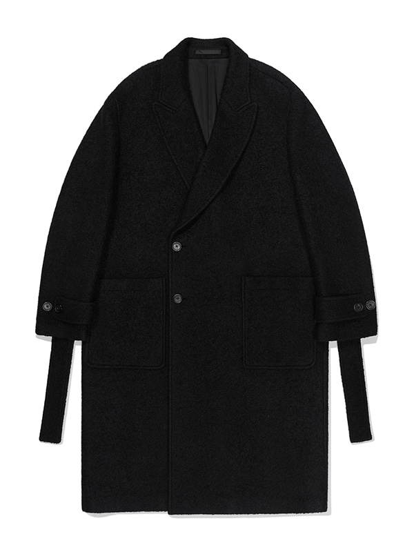WOOL BELTED DOUBLE COAT JA [BLACK]