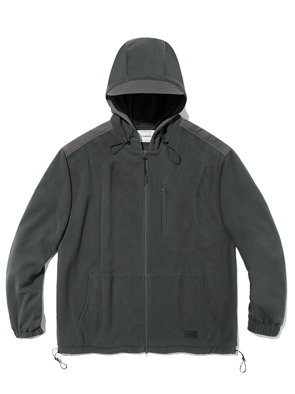 HOODED POLA FLEECE JACKET JA [CHARCOAL GREY]