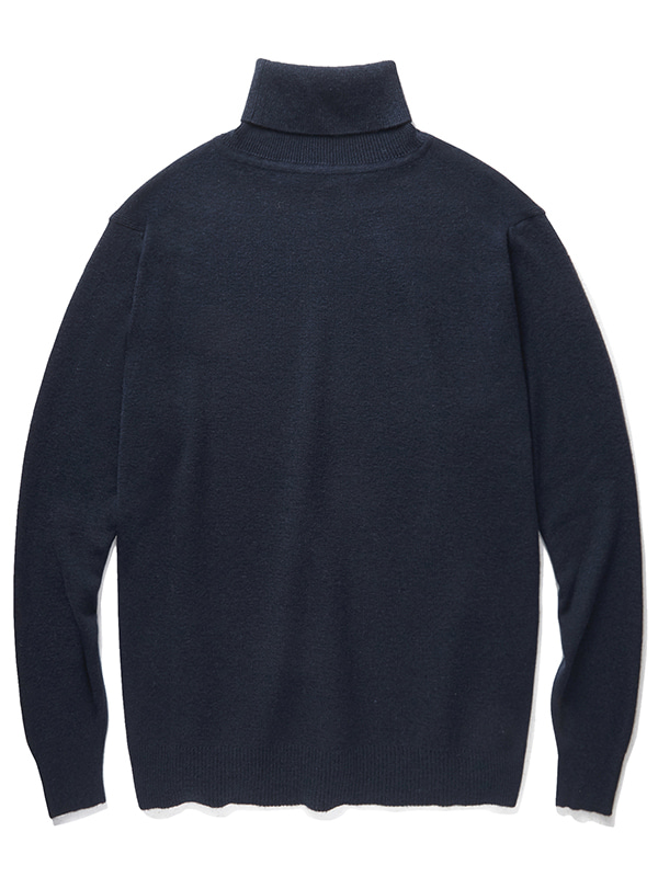 CASHMERE BLEND HALF NECK KNIT JA [NAVY]