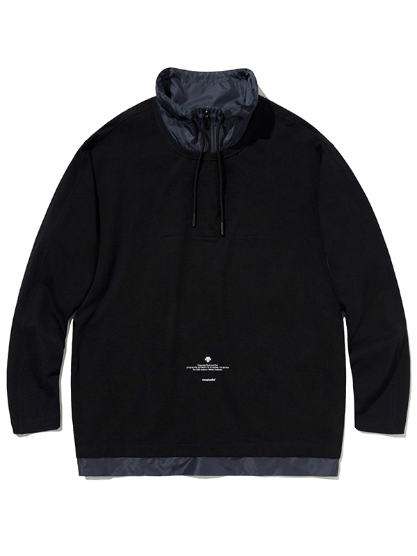 DESCENTE×VIVASTUDIO WOVEN LAYERED SWEATSHIRT [BLACK]