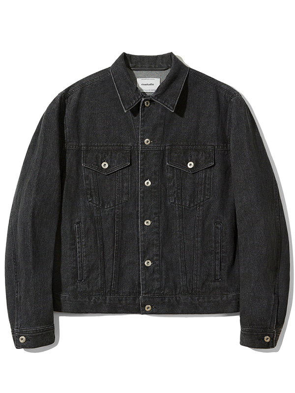 TRUCKER JACKET JA [DYED BLACK]