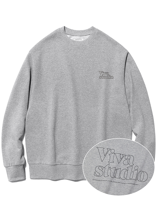 SERIF OUTLINE CREWNECK JA [MELANGE GREY]