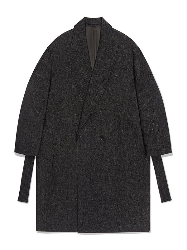 WOOL PEAKED LAPEL COAT JA [BROWN]
