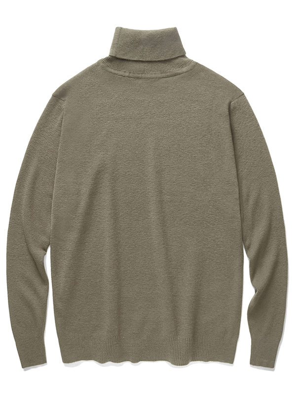 CASHMERE BLEND HALF NECK KNIT JA [KHAKI BROWN]