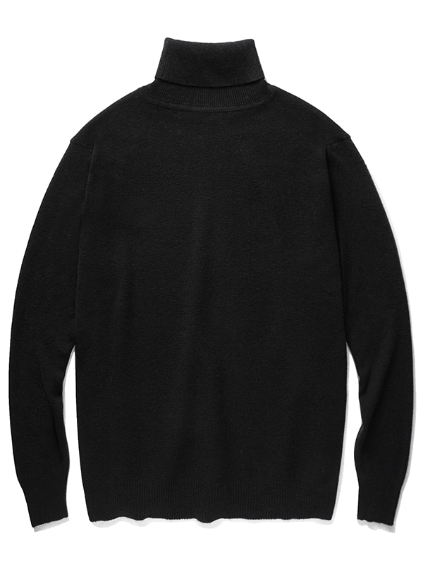 CASHMERE BLEND HALF NECK KNIT JA [BLACK]