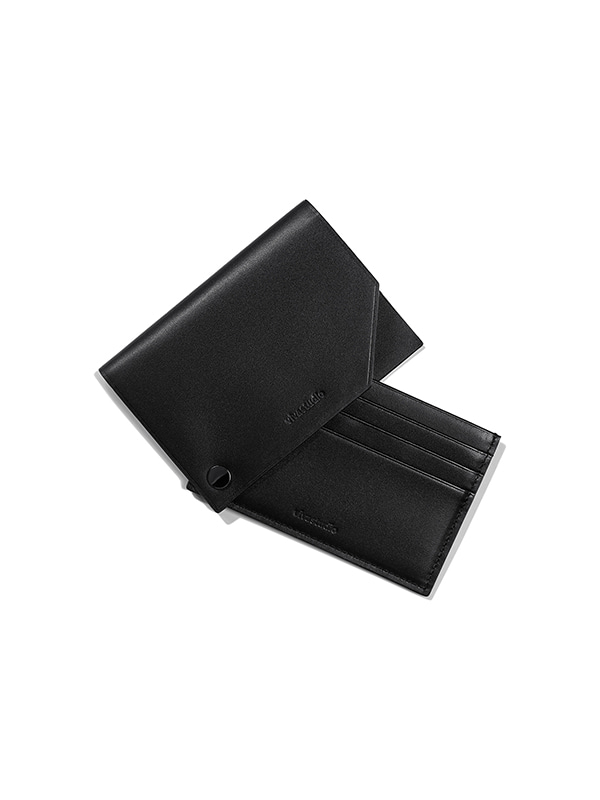 BUTTON STUD CARD WALLET JA	[BLACK]