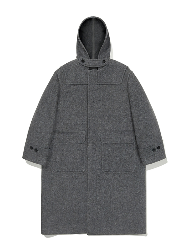 CASHMERE HOODED DUFFLE COAT JA [GREY]