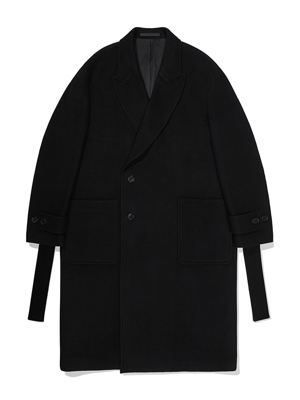 CASHMERE BELTED DOUBLE COAT JA [BLACK]