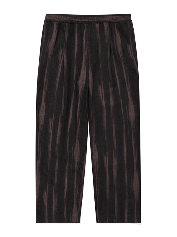 WIDE STRIPE BANDING PANTS JA [BROWN]