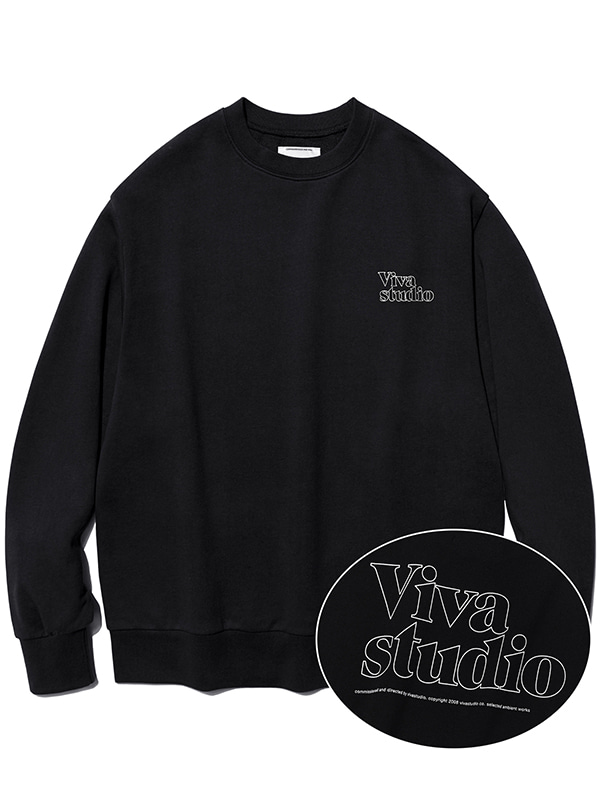 SERIF OUTLINE CREWNECK JA [BLACK]