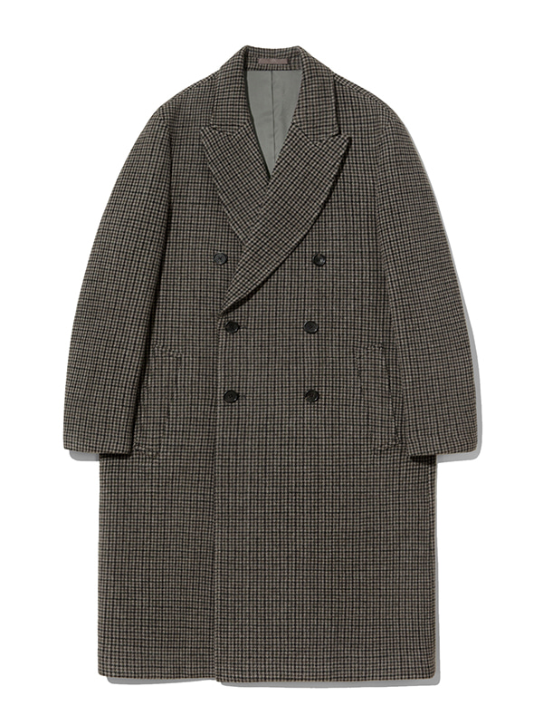 CASHMERE DOUBLE BREASTED COAT JA [BROWN CHECK]