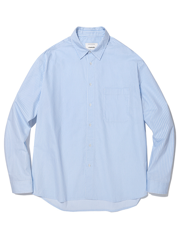 SEMI OVERFIT STRIPE SHIRTS JA [SKY BLUE]