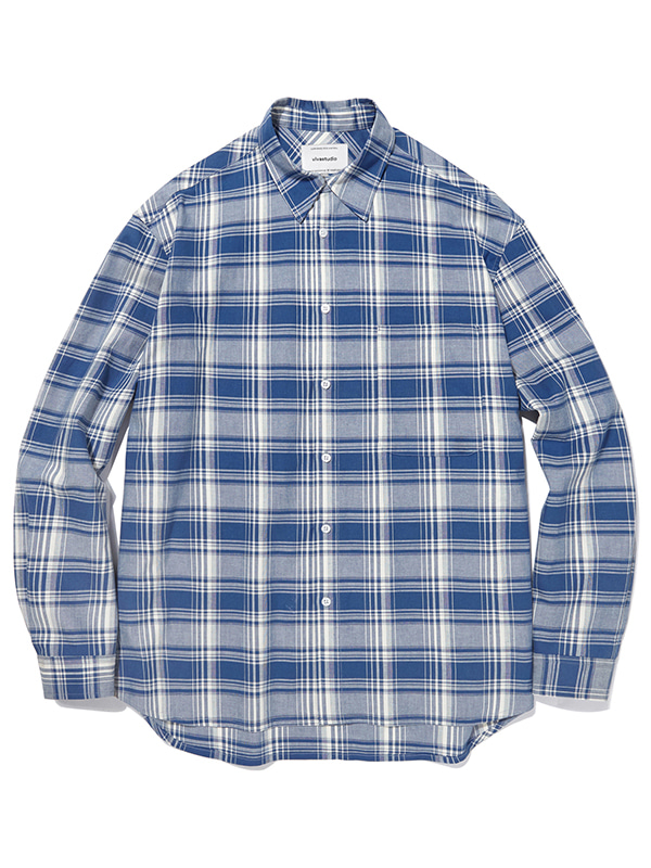 SEMI OVERFIT CHECK SHIRTS JA [BLUE]