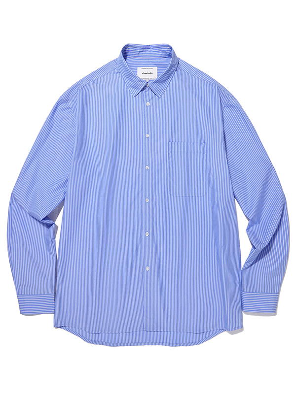 SEMI OVERFIT STRIPE SHIRTS JA [BLUE]