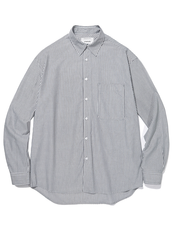SEMI OVERFIT STRIPE SHIRTS JA [BLACK]