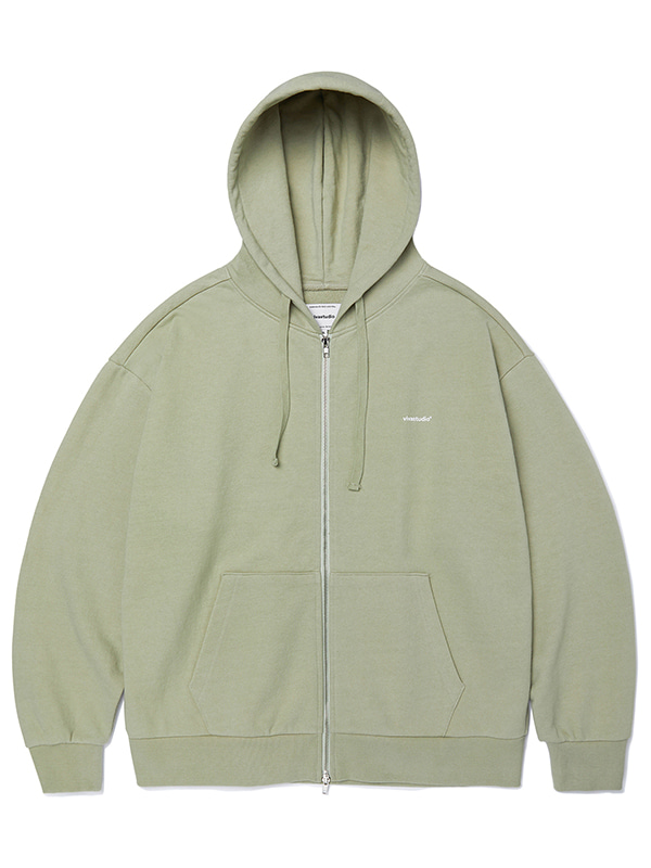 BASIC LOGO HOOD ZIP UP JA [LIGHT KHAKI]