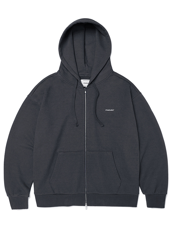 BASIC LOGO HOOD ZIP UP JA [DARK GREY]