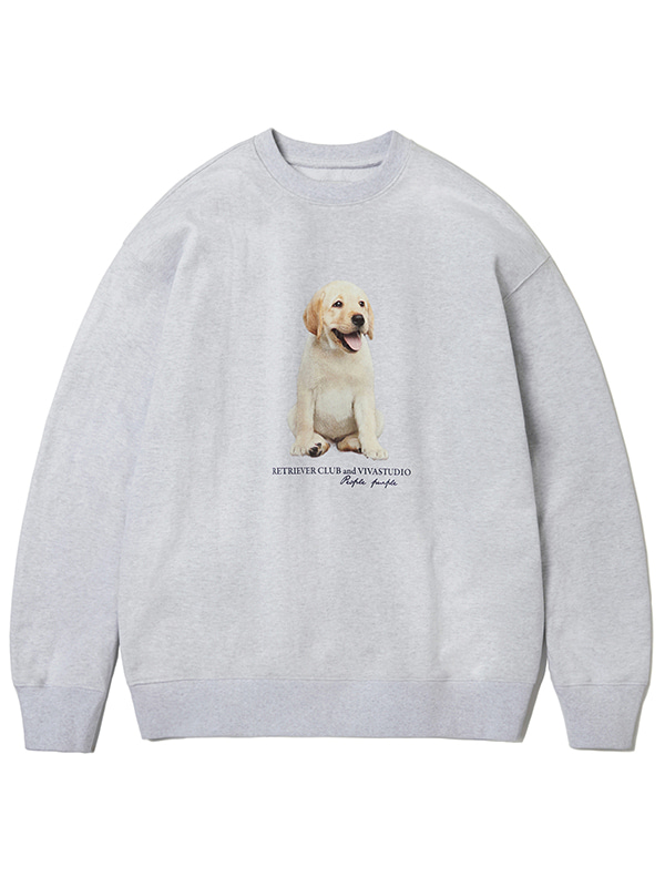SITTING PUPPY CREWNECK KS [MELANGE GREY]