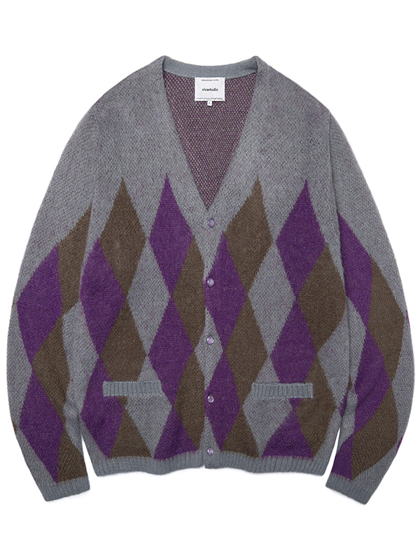 ARGYLE MOHAIR CARDIGAN JA [PURPLE]