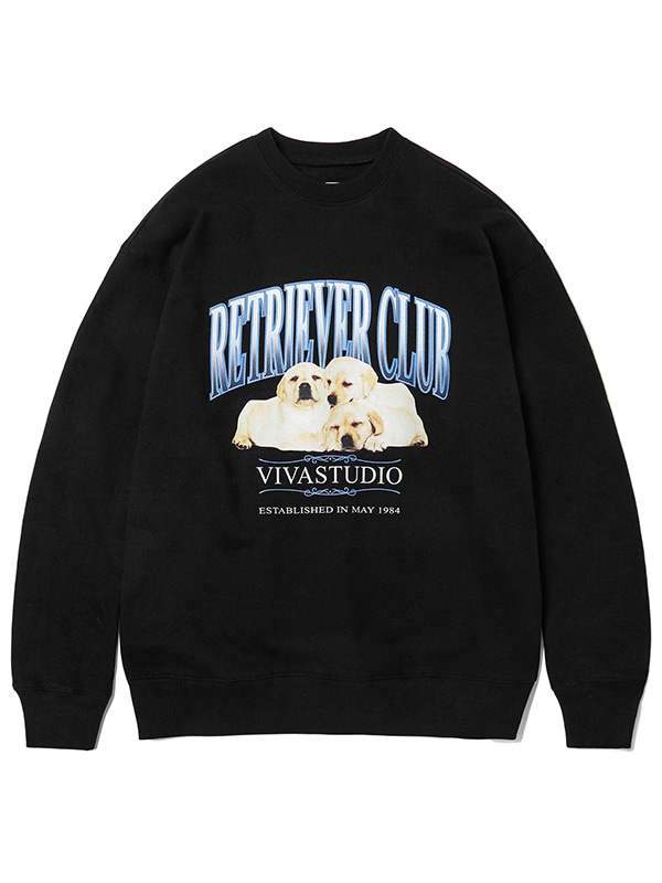 THREE PUPPIES CREWNECK KS [BLACK]
