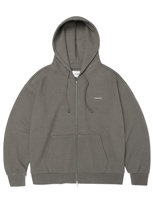 BASIC LOGO HOOD ZIP UP JA [BROWN]