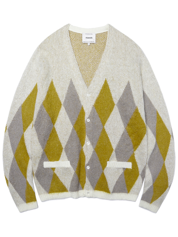 ARGYLE MOHAIR CARDIGAN JA [YELLOW]