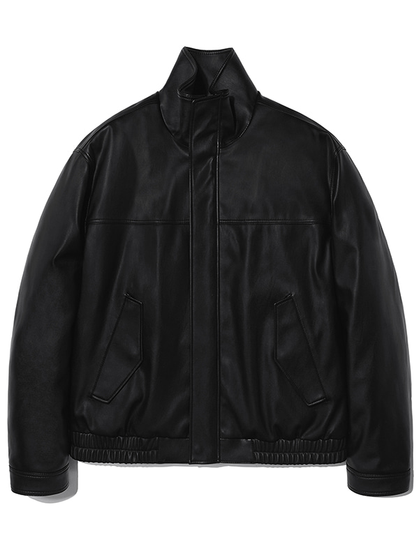 VEGAN LEATHER MINIMAL BLOUSON KS [BLACK]