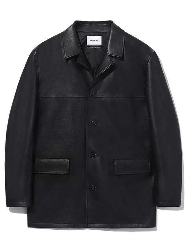 VEGAN LEATHER CAR COAT KS [BLACK]
