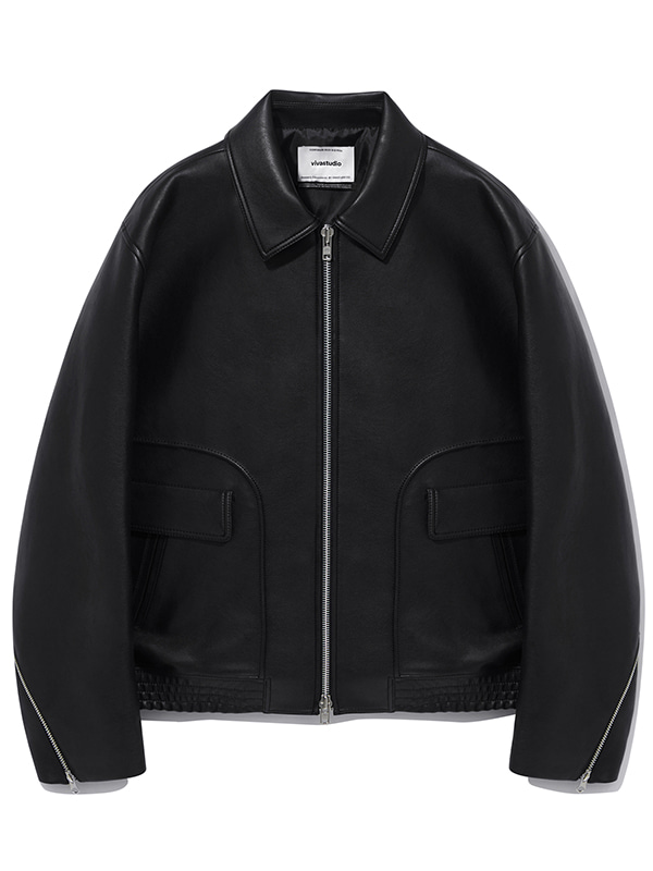VEGAN LEATHER FLIGHT JACKET KS [BLACK]